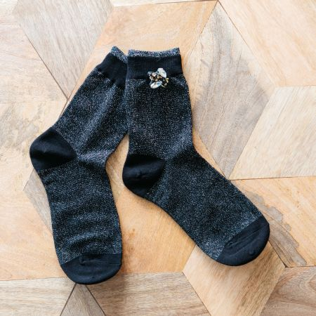 Black Glitter Socks with Bee Pin