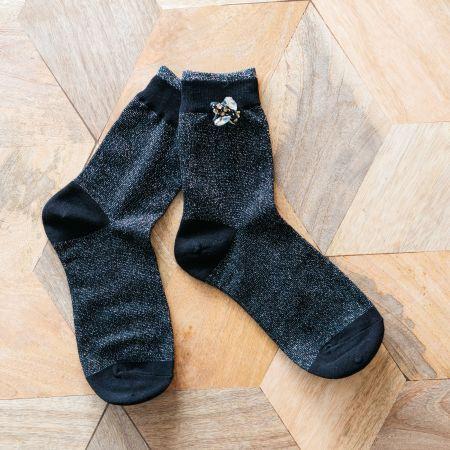 Black Glitter Socks with Bee Pin