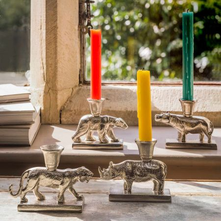Silver Animal Candle Holders