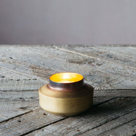 Burnt Brass Pot Tea Light Holder