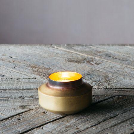 Burnt Brass Pot Tea Light Holder
