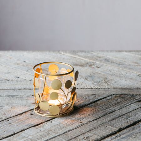 Circular Brass and Glass Tea Light Holder