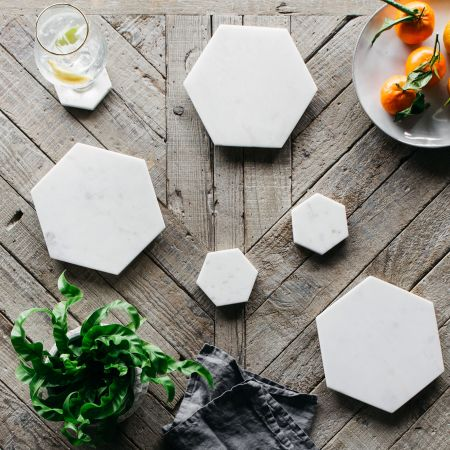 Hexagon Marble Placemats and Coasters