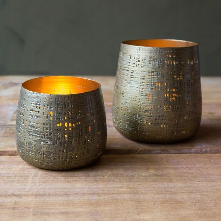 Textured Brass Tea Light Holders