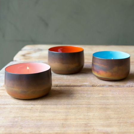 Burnt Copper Tea Light Holders