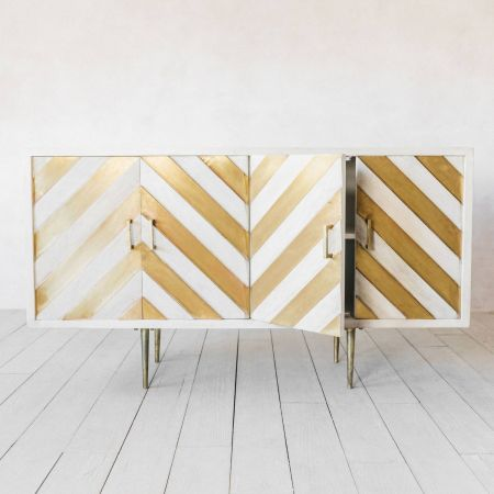 Nala Wood and Brass Sideboard