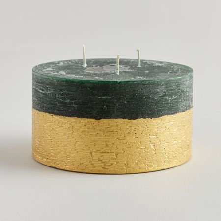 Winter Thyme Large Gold Dipped Candle