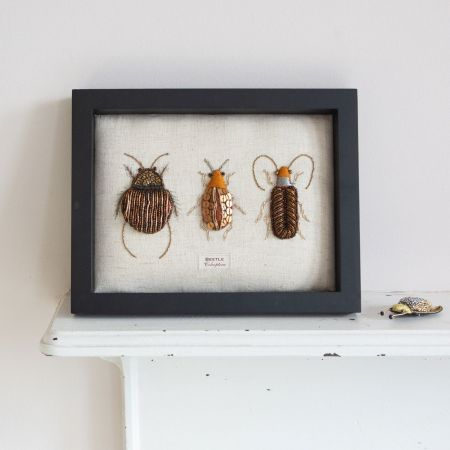 Framed Embroidered Beetle Trio