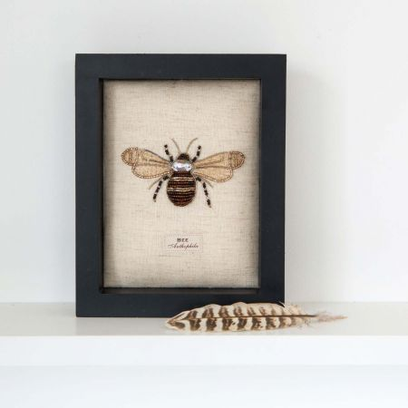 Framed Embroidered Bumblebee