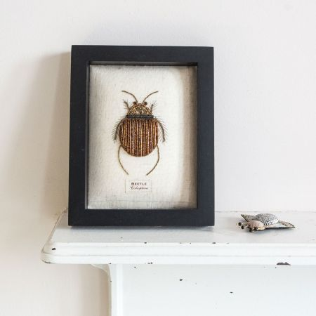 Framed Embroidered Gold Beetle