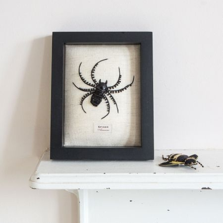 Framed Embroidered Spider