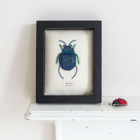 Framed Embroidered Blue Beetle