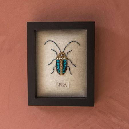 Framed Embroidered Scarab Beetle