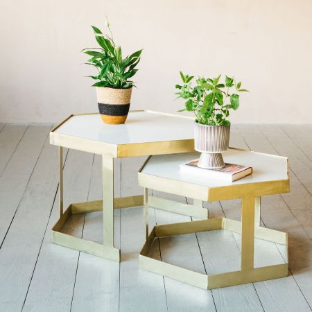 Set of Two Hexagonal Marble Coffee Tables