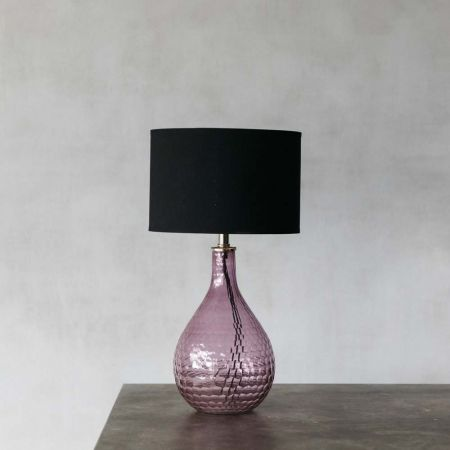 Hammered Pink Glass Table Lamp