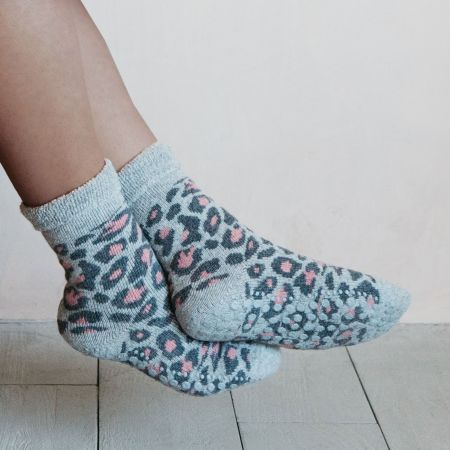Grey and Pale Pink Leopard Slipper Socks