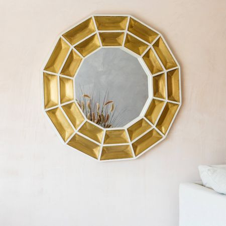 Bullion Round Brass Mirror