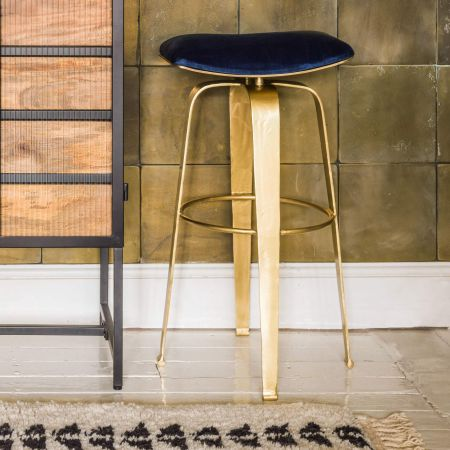 Imogen Dark Blue Velvet Stool