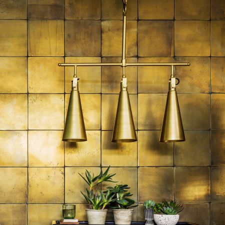 Triple Conical Brass Pendant