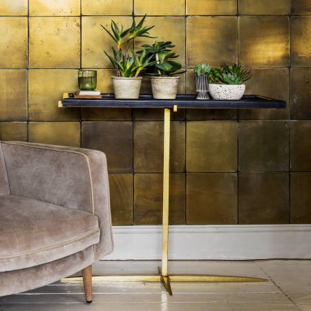 Donte Black Marble Console Table