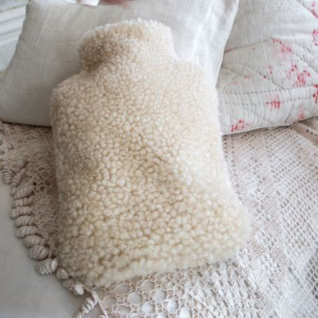 Cream Sheepskin Hot Water Bottle Cover