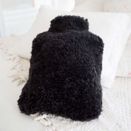 Dark Charcoal Sheepskin Hot Water Bottle Cover