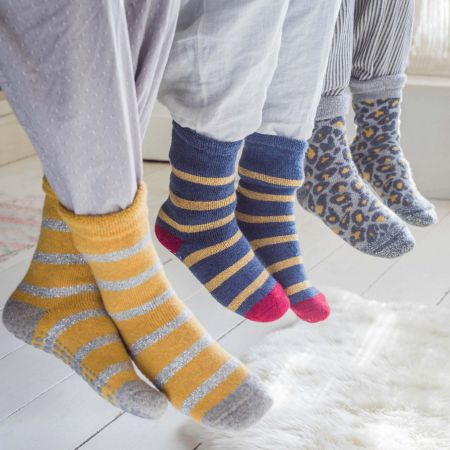 Blue and Gold Striped Slipper Socks