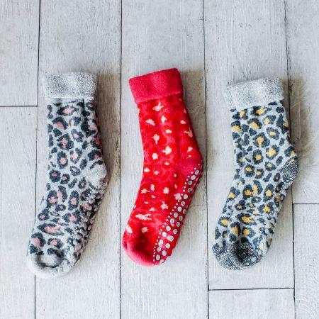 Leopard Print Slipper Socks