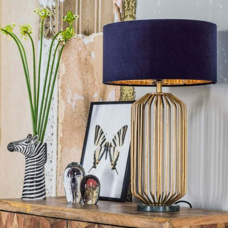 Linear Table Lamp Green Marble Base