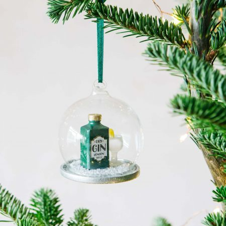 Gin and Tonic Snow Globe Bauble
