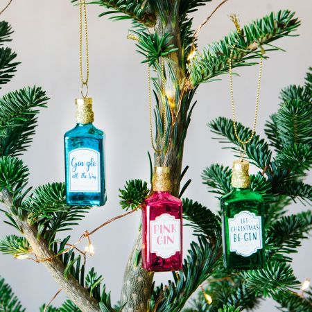 Set of Three Gin Bottle Decorations