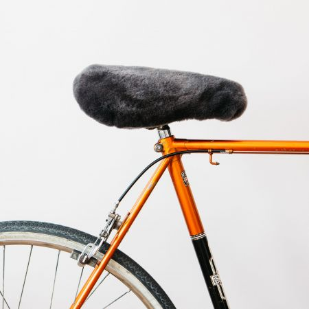 Grey Sheepskin Sport Bike Seat Cover