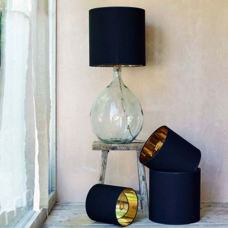 Tall Black And Gold Drum Lamp Shade