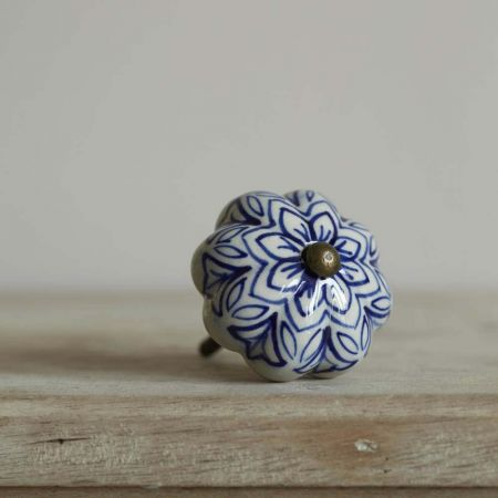Navy Painted Flower Knob