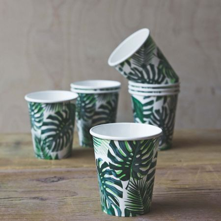 Pack of Eight Palm Leaf Paper Cups