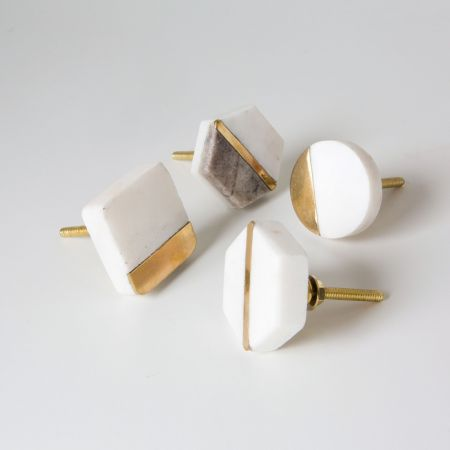 Hexagon Marble and Brass Drawer Knob