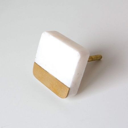 Square Marble and Brass Drawer Knob
