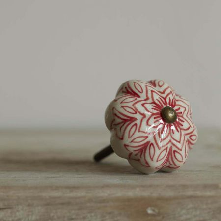 Red Painted Flower Knob