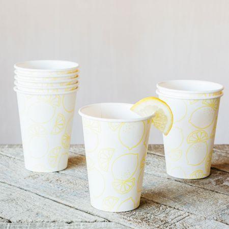 Set of Eight Lemon Paper Cups