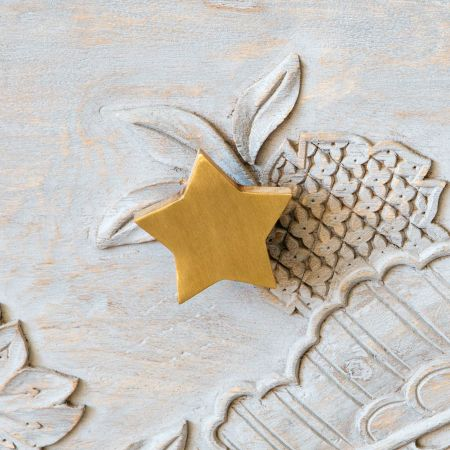 Star Wooden and Brass Door Knob