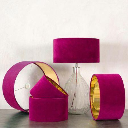 Tulip Pink Velvet Lamp Shades