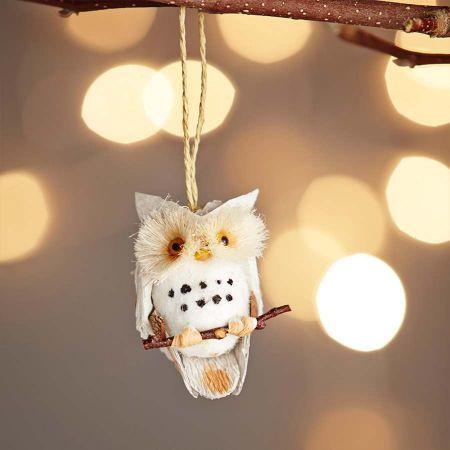 Natural Cone Owl Decoration - Thumbnail