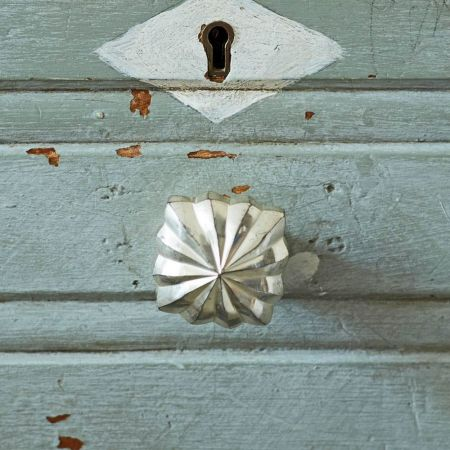 Antiqued Silver Square Star Door Knob