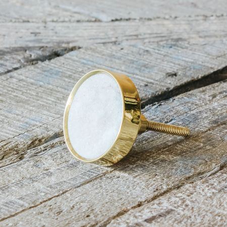 Round Brown Marble and Brass Door Knob