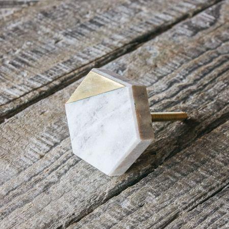 Hexagon Brown Marble and Brass Door Knob