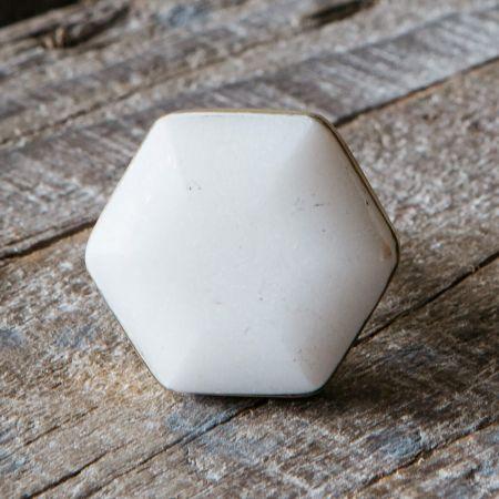 White Marble Domed Hexagon Door Knob