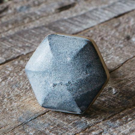 Grey Marble Domed Hexagon Door Knob