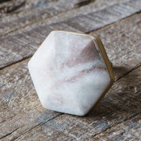 Brown Marble Domed Hexagon Door Knob