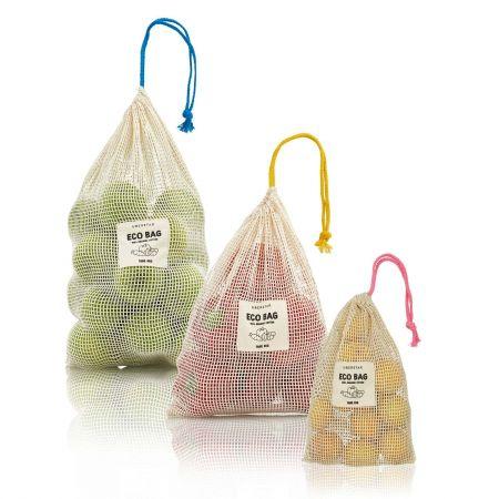 Set of Three Fruit and Veg Eco Bags