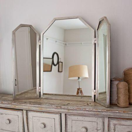 Odette Antiqued Silver Dressing Table Mirror